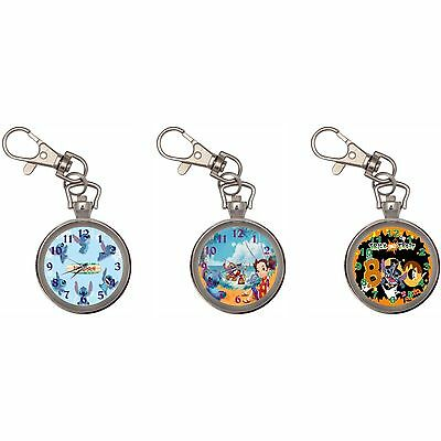Lilo Stitch Silver Key Ring Chain Pocket Watch