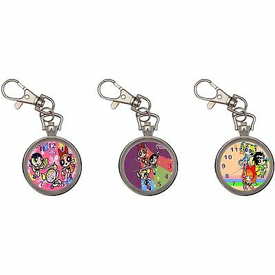 Powerpuff Girls Silver Key Ring Chain Pocket Watch