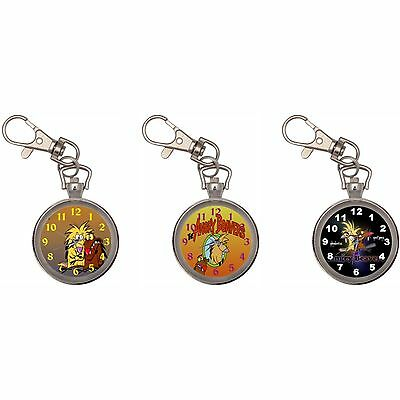 The Angry Beavers Silver Key Ring Chain Pocket Watch