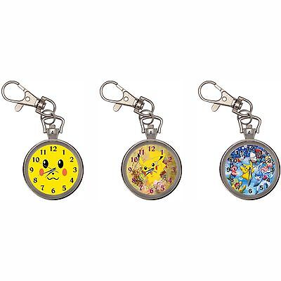 Pokemon Silver Key Ring Chain Pocket Watch