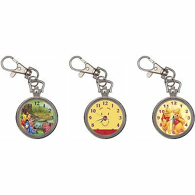 Winnie The Pooh Silver Key Ring Chain Pocket Watch
