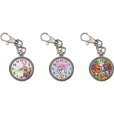 The Aristocats Silver Key Ring Chain Pocket Watch