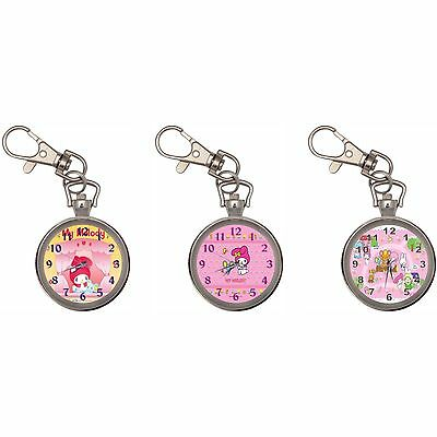My Melody Silver Key Ring Chain Pocket Watch