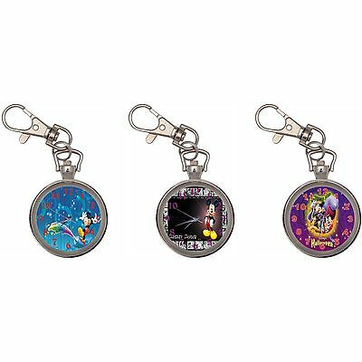 Mickey Mouse Silver Key Ring Chain Pocket Watch