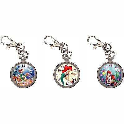 The Little Mermaid Silver Key Ring Chain Pocket Watch