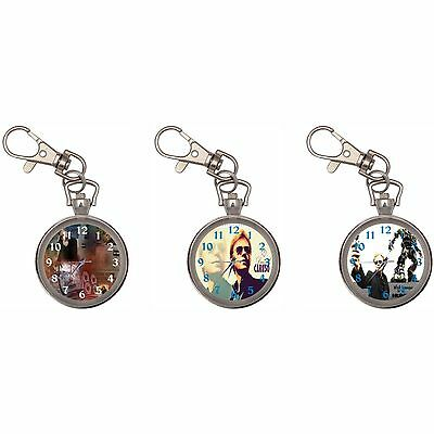 David Caruso Silver Key Ring Chain Pocket Watch