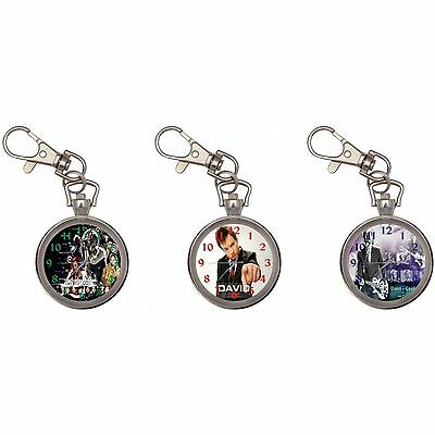 David Cook Silver Key Ring Chain Pocket Watch