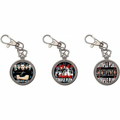 Simple Plan Silver Key Ring Chain Pocket Watch