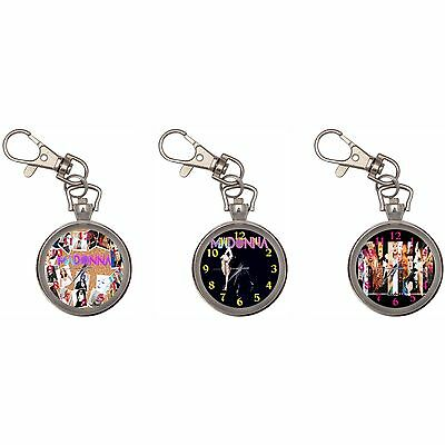 Madonna Silver Key Ring Chain Pocket Watch