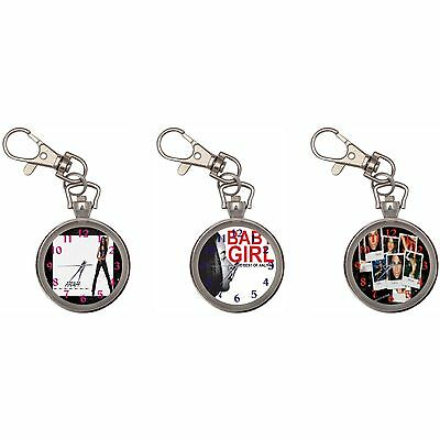 Aaliyah Silver Key Ring Chain Pocket Watch