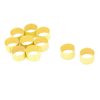 Household Metal Clothes Needlework Finger Protector Thimble Ring Gold Tone 10pcs