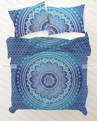 Blue Sky Blue Ombre Hippie Bohemian Bedding Duvet Quilt Cover With Pillowcovers