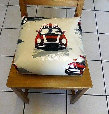 Kids Child Chair Booster Cushion. Zipped Refillable. With Ties. Large Mini cars.