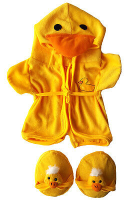 "Duck Bathrobe w/Slippers Teddy Bear Clothes Fit Most 14""-18"" Build-A-Bear n More"