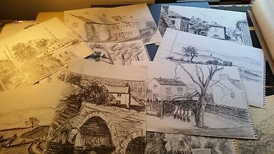 joblot of 10 landscape sketches of French scenes, c 1970's