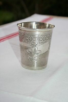 Antique French Sterling Silver Minerva Guilloche&clover Tumbler Wine Beaker Cup