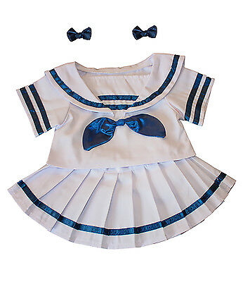 """Sailor Girl w/Bows Dress Outfit Teddy Bear Clothes 14""""-18"""" Build-A-Bear and More"""