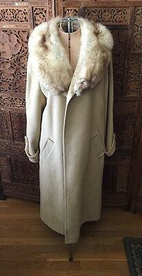 Beige Wool Coat With Luxurious Fox Fur Collar Size Large