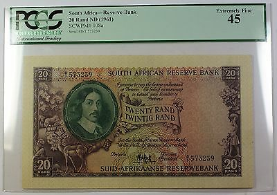 (1961) No Date South Africa 20 Rand Reserve Bank Note SCWPM# 108a EF-45 (B)