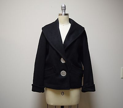 Vintage 1940s/50s Black Wool Jacket Coat Shawl Collar Pearl Buttons Size S