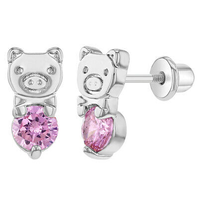Rhodium Plated Pink CZ Pig Piggy Screw Back Earrings for Kids Girls Children