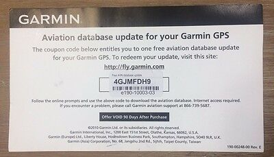 Garmin Jeppesen GPS Aviation Databases Update Certificate