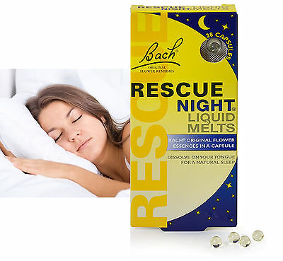Bach Rescue Night Remedy Liquid Melts Pills Aid Capsule (28 Pack) Expiry 12/2018