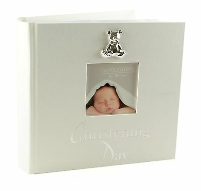 """Christening Day Photo Album 6"""" x 4"""" Gift With 3D Teddy Icon"""