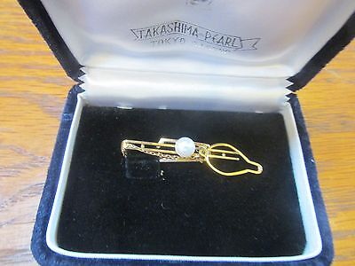 14k Gold Tie Clip with Takashima Pearl ~ By Tokyo Sesero