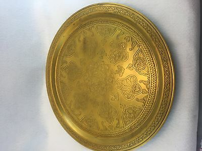 Antique Damascus Ottoman Large Brass Hand Etched Tray
