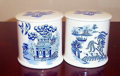 2 Pairs Of Sadler Jelly Jam Jars Lids Blue White Willow Pattern England China