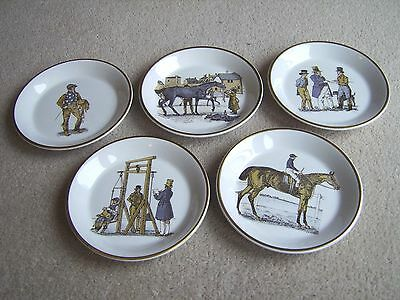 Set of 5 Horse Racing themed saucers by Shand Kydd Pottery, all different