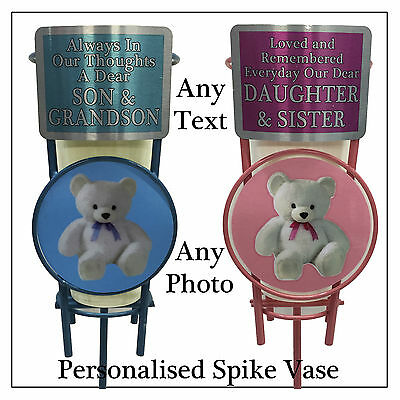 Personalised Baby Boy / Girl Teddy Bear Grave Memorial Spike Vase, Have Any Text