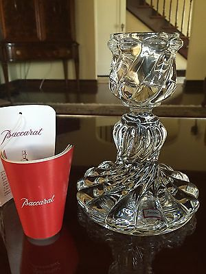Baccarat Bambous Candlestick, Hurricane Brilliant! Excellent!! Tags!