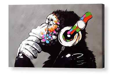 Banksy  Dj Monkey, Gorilla, Ape  Canvas Art Box Print A4, A3, A2, A1