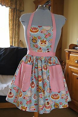 Blue, teacups & cakes with pink spot retro vintage shabby chic full apron