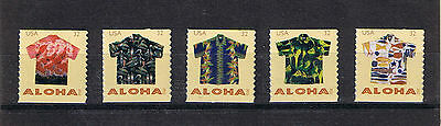 US 2012 Aloha Shirts (Sc #4597-4601) Set of 5 Single Postage Stamps