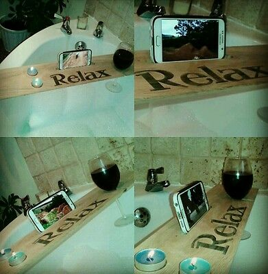 Wooden bath caddy with wine holder OAK!