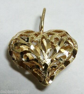 14k Yellow Gold Carved HEART Diamond Cut Pendant Ladie's Love Elegant Valentines
