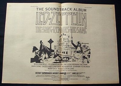 LED ZEPPELIN 1976 Poster Ad THE SONG REMAINS THE SAME soundtrack