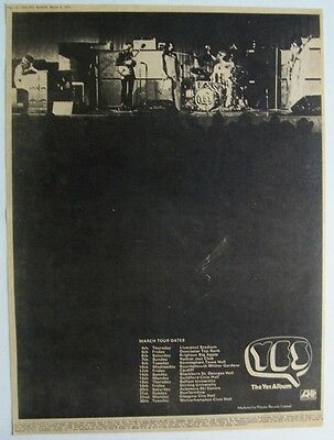 YES 1971 Poster Ad CONCERT TOUR THE YES ALBUM