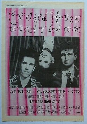 CROWDED HOUSE 1988 Poster Ad TEMPLE OF LOW MEN