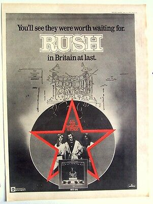 RUSH 1977 Poster Ad ALL THE WORLD'S A STAGE TOUR BRITAIN