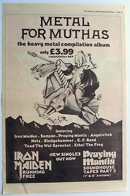 IRON MAIDEN 1980 Poster Ad METAL FOR MUTHAS