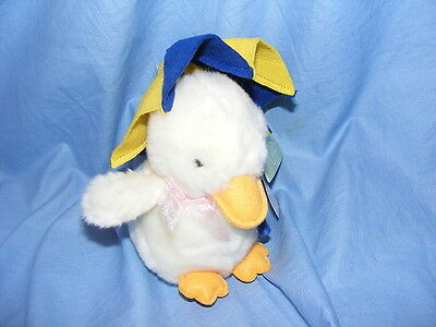 Russ Berrie White Duck With Umbrella Drizzles 2097 Collectable RARE