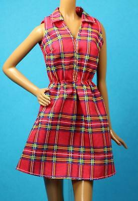 Barbie 2016 Sisters Red Black Plaid Print Sleeveless Cotton Dress