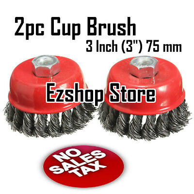 """2pcs alots - 3"""" Twist Cup Wire Brush 5/8"""" Twisted Wire Fits Most Angle grinders"""