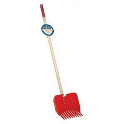 Miller Manufacturing Easy Pet Waste Scoop with Wood Handle Safe Disposal Red