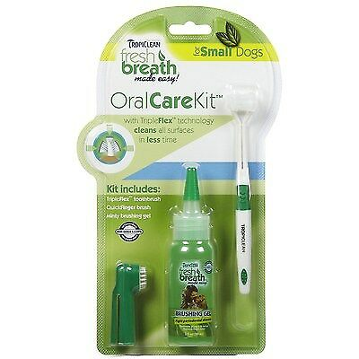 TropiClean Fresh Breath Plaque Remover Gel Brush Oral Care Kit for Dogs Small 4z