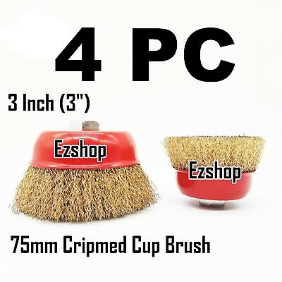 "(4pcs) 3"" THREADED CRIMP CUP WIRE WHEEL BRUSH 5/8'' FOR ANGLE GRINDER"
